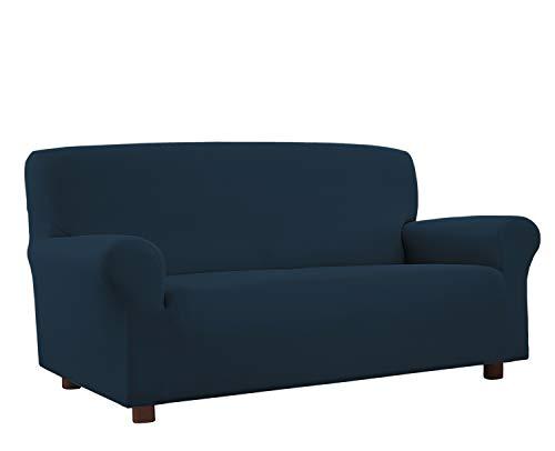 Banzaii Funda Sofa 2 Plazas Azul – Elastica Antimanchas – Extensible de 100 a 150 cm - Made in Italy
