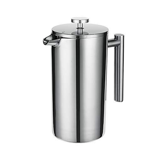 Lwieui Französisch Press Pot 304 Edelstahl Französisch Press Pot Französisch Filter Hand Kaffeemaschine Appliance Doppelfilter Teekanne Cafetier (Farbe : Stainless Steel, Size : 600ml)
