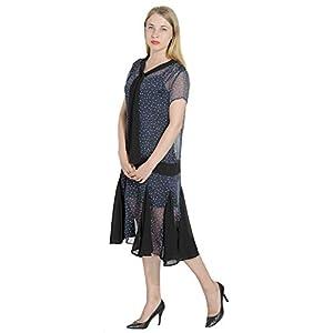 Marycrafts Women't Drop Waist 1920s Lined Floral Godet Dress S Floral 3