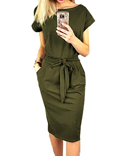 PRETTYGARDEN Women's 2019 Casual Short Sleeve Party Bodycon Sheath Belted Dress with Pockets (Army Green, Small)