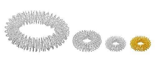 Power-Ring-Set - Armband (Silber) + Ring (Silber groß) + Ring (Silber klein) + Ring (Gold klein) / Akupressurring/Massagering/Massagearmband/Armmassagering Silber