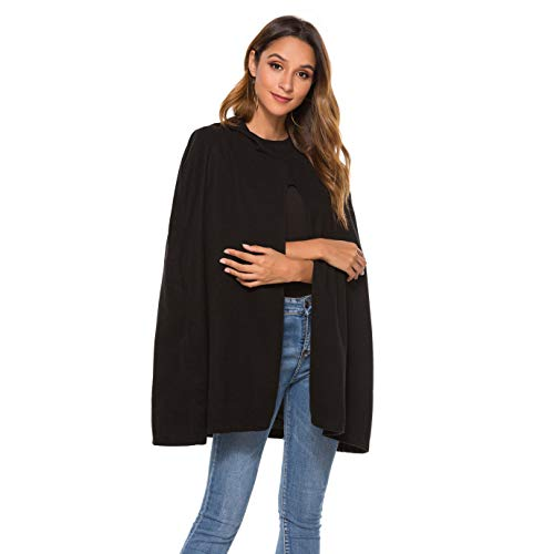 Your Gallery Women's Casual Hooded Split Front Poncho Cape Cloak Trench Outwear Coat,Black