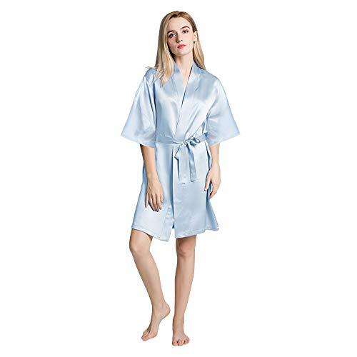 OLESILK Damen Kurz Morgenmantel Satin Kimono Kurzarm Robe Bademantel mit Gürtel V-Ausschnitt Nachtwäsche Negligee, Hellblau