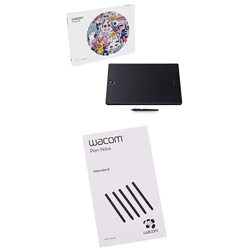 Wacom Intuos Pro Pen (Size: L) / Large Professional Graphic Tablet 2 with Replacement Tips / Compatible with Windows & Apple, K100912 with Nibs, Black, 5 pack