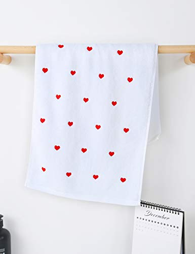 Valentine Hand Towels for Bathroom(White,2-Pack, 13' x 30'),Decorative Towels for Bath, Hand, Face,...