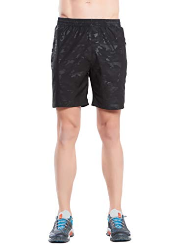 Bmuy Men's Camouflage Lightweight Quick Dry Athletic Outdoor Hiking Shorts Zipper Pocket Black XL