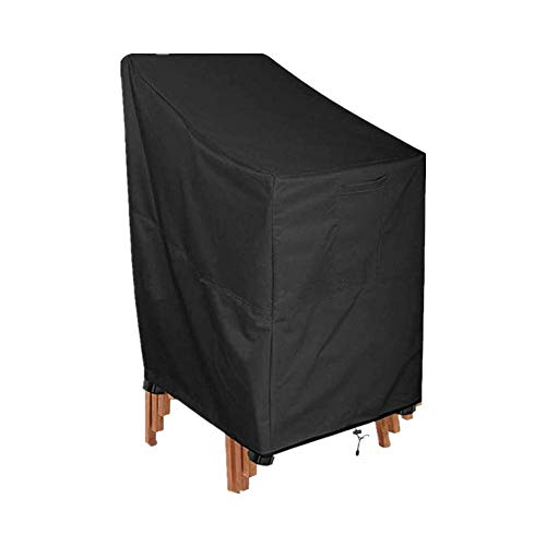 SEESEE.U Garden Chair Cover Patio Stacking Chair Cover Waterproof 420D Oxford Fabric Outdoor Protective Cover for Stackable Chairs Anti-U89x89x120/89cm Black