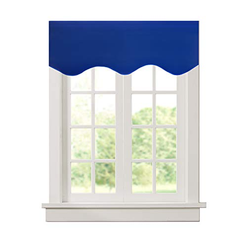 Aquazolax Rod Pocket Scalloped Valances for Windows Blackout Drapery Solid Scalloped Valance Curtains Drapes, 52 by 18-inch, Royal Blue, 1 Panel