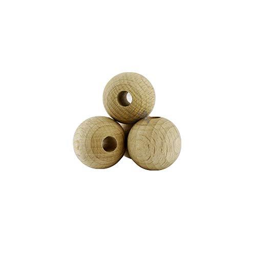 For Forest 10 Sfere di Legno 25mm con Foro 7mm Palline Legno 25 mm bucate 7 mm Colore Naturale Grezzo Palle Perline Non verniciate forate bucate