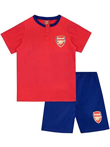 Arsenal F.C. conjunto de pijama, parte superior con un cómodo botón en el cuello y manga corta y pantalones cortos elásticos para niño [9-10 años] [Multicolor]