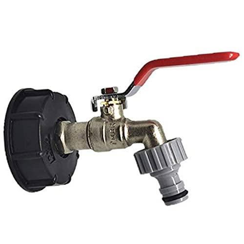 SOBW IBC - Grifo para depósito de agua de latón, adaptador IBC, bolsa de transporte, depósito de agua, conector de manguera de repuesto, adaptador IBC, grifo de salida en forma de bola