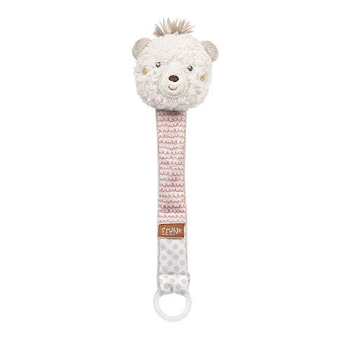 FEHN 058147 Schnullerkette Bär / Schnullerhalter mit Rassel und Tier-Köpfchen, passend für alle herkömmlichen Schnuller - perfekter Begleiter für Babys und Kleinkinder ab 0+ Monaten