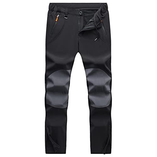 HMIYA Pantaloni Trekking Uomo Invernali Termici Pantaloni da Lavoro Impermeabile Foderati in Pile Pantaloni Softshell Sci Antivento all'aperto(Nero,XL)