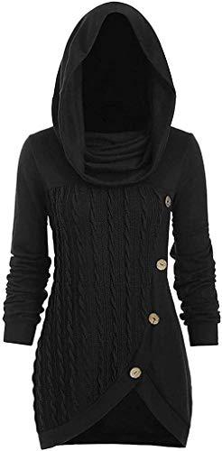 ADWA Vestido de jersey largo de cuello alto para mujer, de manga larga, magnífico vestido con capucha de punto de cable, sudaderas para mujer, suéter asimétrico abotonado