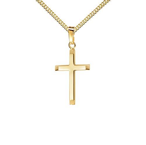 Anhänger-Kreuz Goldkreuz für Damen, Herren und Kinder mit abgeflachten Kanten als Kettenanhänger 585 Gold 14 Karat mit Schmuck-Etui und Kette