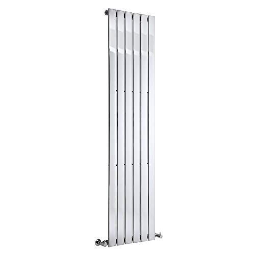 Hudson Reed Radiador de Diseño Moderno Vertical Delta - Radiador con Acabado Cromado - Paneles Planos - 1800 x 450mm - 668W - Calefacción