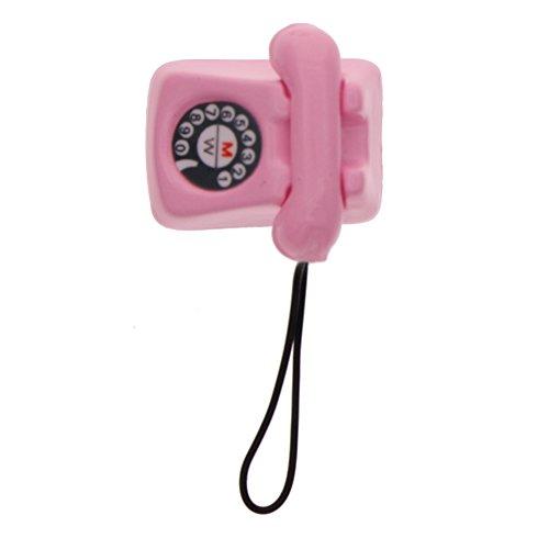 Rungao Puppenhaus Mini Telefon Vintage Metall Miniaturzubehör, Puppenhaus-Spielzeug, Maßstab 1:12, rosa