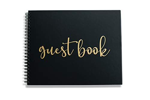 "Wedding Guest Book Black Polaroid Album - Hardcover Photo Guestbook - Spiral Hardbound Book w/Gold 10"" x 8"" - Funeral, Bridal Shower, Baby Shower, Airbnb Registry Sign in (80 Unlined Blank Pages)"