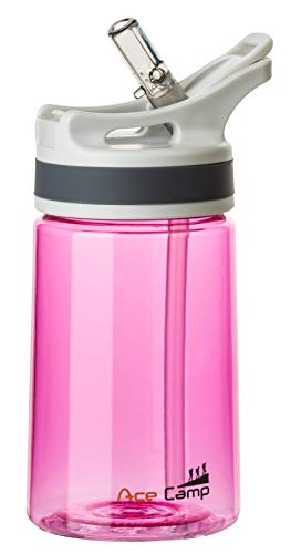 AceCamp TRITAN Botella de Agua | Botella de Agua a Prueba de Fugas sin BPA | Botella Deportiva Pajita I 350 ml I Pink I 15524