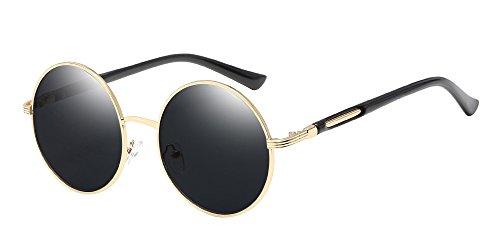 BOZEVON Retro Runde Sonnenbrille Damen - Vintage stilvoll Kreis Metallrahmen Gold-Grau