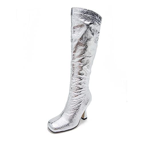 JOEupin Botas de rodilla para mujer Tacones delgados cremallera muslo alta moda sexy Slouch Boot, Silver, 38 EU
