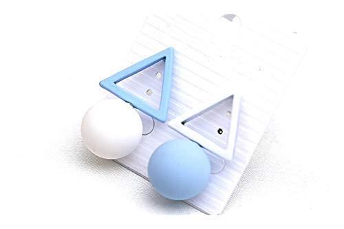 XPWOZ Geometric candy color ladies fashion earrings (Color : White Blue)