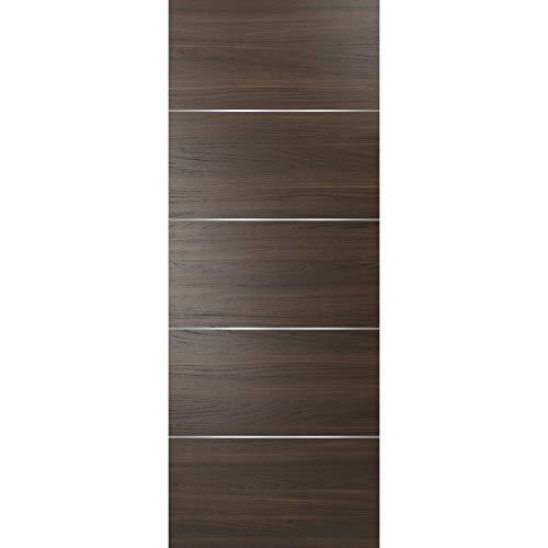 Wood Panel Brown Slab 42 x 96 | Planum 0020 Chocolate Ash | Use as Pocket Sliding Closet Door | Sturdy Solid Core Stripes Modern Door