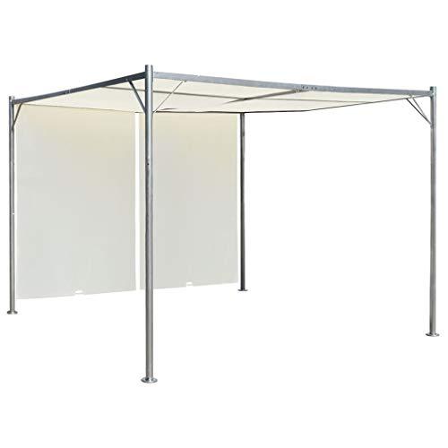 FAMIROSA Pérgola con tejado Ajustable Acero Color Blanco Crema 3x3 m