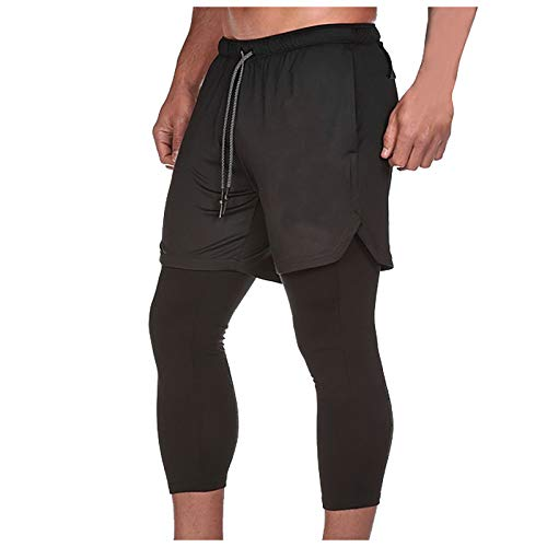 Cargo pants for men big and tall,Men's Double Layer 2-in-1 Outdoor Sports & Fitness Quick Dry 9/10 Pants,Extreme Relaxed Pant Linen Cotton Loose Fit Casual Lightweight Elastic Waist Summer Pants