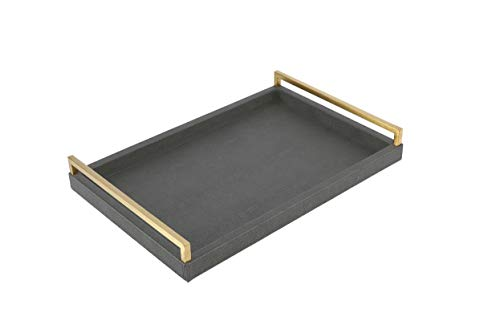 WV Decorative tray Faux dark grey Shagreen leather with Brushed Ti-Gold Stainless Steel Handle ,Serving Tray For Coffee table, Ottoman in Living Room (Dark Grey)