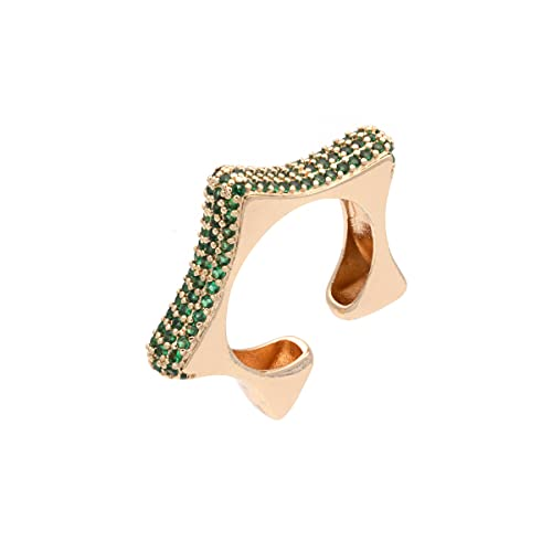 Colours & Beauty - Anillo para mujer con cristales de circonita cúbica, colores surtidos, anillo para mujer ajustable, anillo de estrella ajustable, anillo de circonitas verde Smeraldo