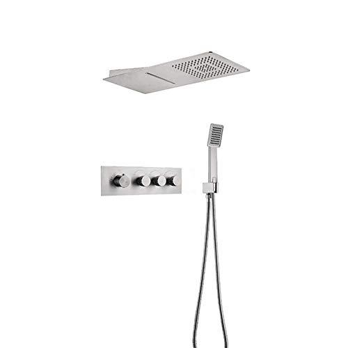 ShiSyan Con Sensor de Agua de la Mano de la Ducha de Lluvia de la Pared Cabezal de Ducha de Temperatura del Agua de baño Ajustable Juego de Ducha, de fácil instalación (Color: Plata)