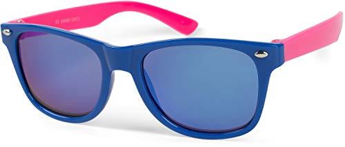 styleBREAKER Kinder Nerd Sonnenbrille mit Kunststoff Rahmen und Polycarbonat Gläsern, klassiches Retro Design 09020056, Farbe:Gestell Blau-Pink / Glas Blau verspiegelt