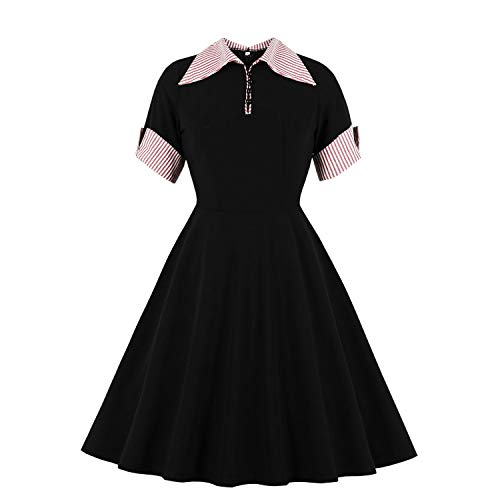 Dresses Pink Stripe Patchwork Button Up Casual Shirt Short Sleeve Black Women Polo Female Robe Vintage Swing Pinup Black-M