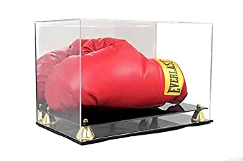 Display Case Holder Showcase with Stands for Boxing Glove Baseball Mitt UV Protection Gold Color Riser Horizontal Stand
