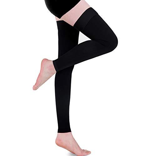 Medias de compresión para muslos Vericose Veins Edema Gradient Pressure, 20-30 mmHg Opaque Medical Compression Socks Graduated Support Hose & Unisex (Negro, XXL)