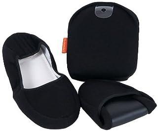 【かかと付き】Lサイズ二つ折携帯用スリッパ【黒】男性用・女性用Lサイズ  学校用・旅行用