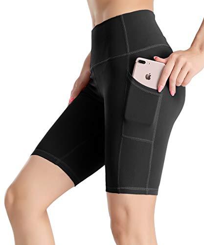 Yaavii Leggings deportivos para mujer con bolsillos, largos, opacos, pantalones de yoga, con diseño de melocotón Negro3 XL