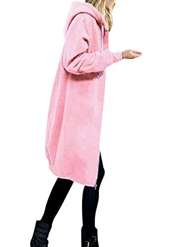 OMZIN Kapuzenpullover Damen Lang Zipped Hoodie Sweatshirtjacke mit Kapuze Frühling Kapuzenjacke mit Reißverschluss Longjacke Warmer Tops Rosa S