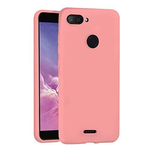 """TBOC Funda para Xiaomi Redmi 6 - Redmi 6A [5.45""""] - Carcasa Rígida [Rosa] Silicona Líquida Premium [Tacto Suave] Forro Interior Microfibra [Protege la Cámara] Resistente Suciedad Arañazos"""