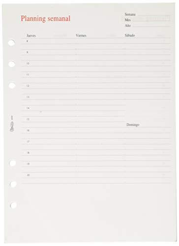 Miquel Rius PLANNING semanal -Recambio Planner para agenda de 6 anillas, 50 hojas, Tamaño PLUS 155 x 213 mm
