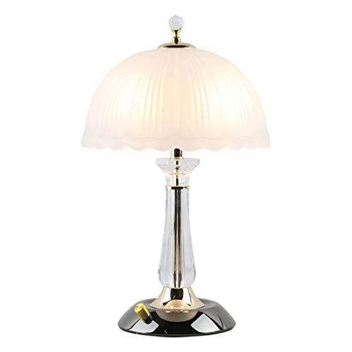 SHUTING2020 lámpara de Mesa Lámparas de Mesa de Cristal de 15.7 Pulgadas con Pantallas de Vidrio Esmerilado Interruptor de Perilla Dorada Lámpara Noche
