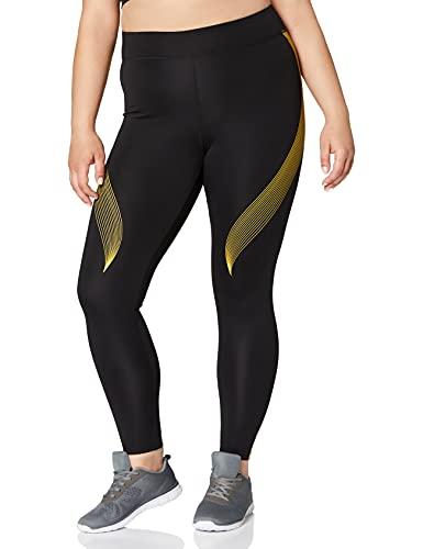 Amazon-Marke: AURIQUE Damen Sportleggings mit Print, Schwarz (Black/Golden Kiwi), 44, Label:XXL