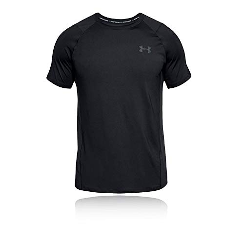 Under Armour Herren MK1 Short Sleeve EU SMU atmungsaktives Sportshirt, kurzärmliges und schnelltrocknendes Funktionsshirt mit enger Passform, Schwarz (Black/Stealth Gray (001), M