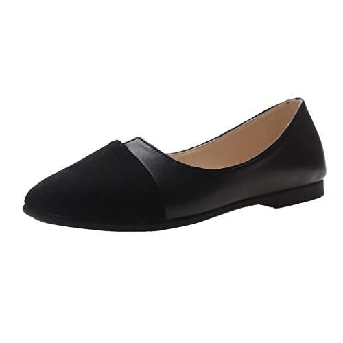 TWIFER Arbeitsschuhe Damen BeiläUfige Einzelne Schuhe Weibliche Flache Schuhe FäRben Zusammenpassende Spitze UnregelmäßIge Flache Mundstudentenschuhe