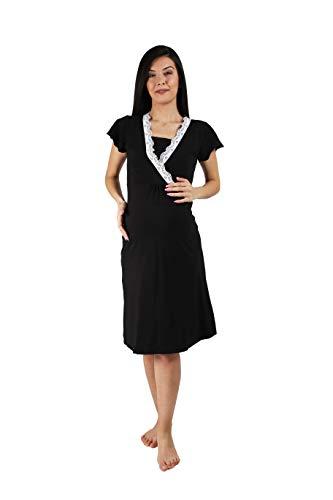 M.M.C. MamiMode Umstands-Nachthemd mit Stillfunktion und Spitze Detail - Pyjama für Schwangere Damen Stillshirt Kurzarm (Schwarz, X-Large)