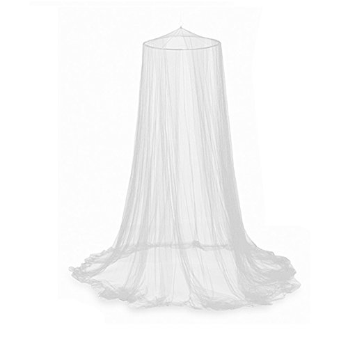 Oceanheart White Lace Bed Canopy Mosquito Nets Round Dome For Double Bed...