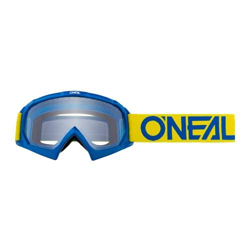 O'NEAL | Fahrrad- & Motocross-Brille | Kinder | MX MTB DH FR Downhill Freeride | Hochwertige 1,2 mm-3D-Linse für ultimative Klarheit, UV-Schutz | B-10 Youth Goggle SOLID | Gelb Blau | One Size