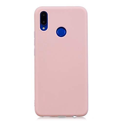 cuzz Funda para Huawei Nova 3i / P Smart Plus+{Protector de Pantalla de Vidrio Templado} Carcasa Silicona Suave Gel Rasguño y Resistente Teléfono Móvil Cover-Rosa Claro