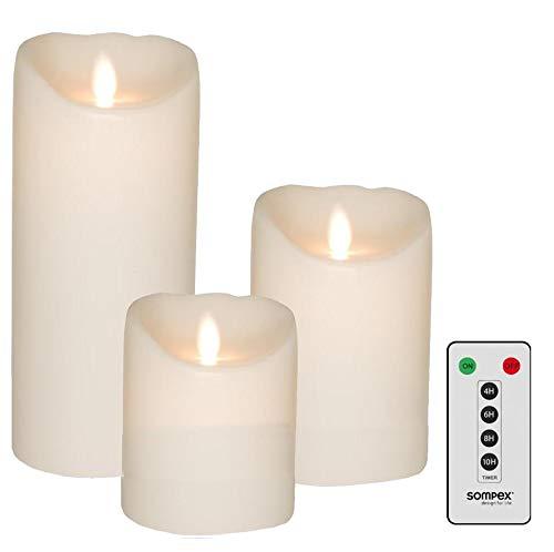 sompex 3er Set Flame LED Echtwachskerzen weiß 10/12,5/18cm mit Fernbedienung